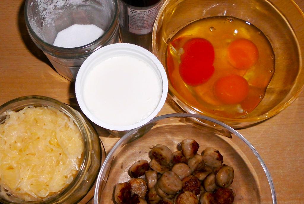 Sauerkraut-Quiche-Zutaten