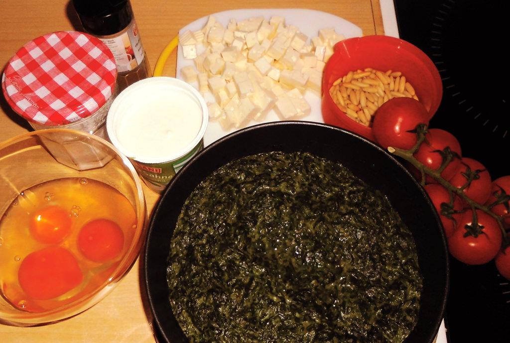 Spinat-Quiche-Zutaten